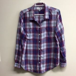 Old Navy Flannel button up purple toned XL